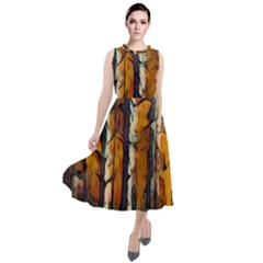 Forest Woods Trees Night Shadows Round Neck Boho Dress