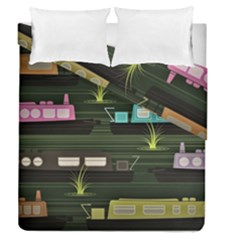 Narrow Boats Scene Pattern Duvet Cover Double Side (queen Size) by Pakrebo