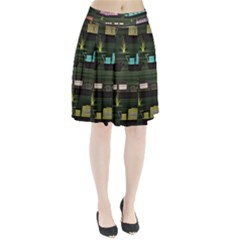 Narrow Boats Scene Pattern Pleated Skirt by Pakrebo