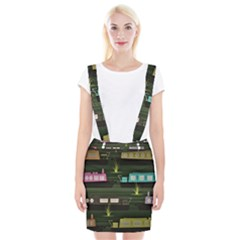 Narrow Boats Scene Pattern Braces Suspender Skirt by Pakrebo