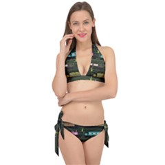 Narrow Boats Scene Pattern Tie It Up Bikini Set by Pakrebo