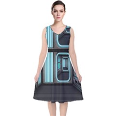 Explore Outer Space Sci Fi Fantasy V Neck Midi Sleeveless Dress