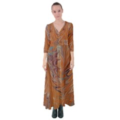 Marbled Paper Mottle Color Movement Button Up Maxi Dress