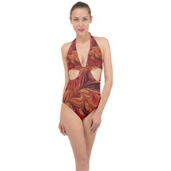 Marbled Paper Mottle Color Movement Halter Front Plunge Swimsuit by Pakrebo