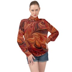 Marbled Paper Mottle Color Movement High Neck Long Sleeve Chiffon Top
