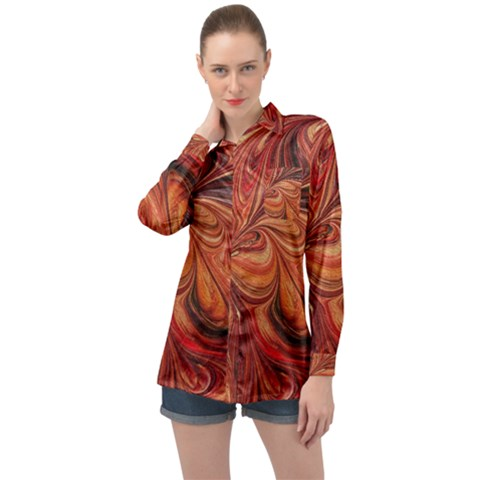Marbled Paper Mottle Color Movement Long Sleeve Satin Shirt by Pakrebo