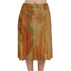 Mottle Color Movement Colorful Velvet Flared Midi Skirt by Pakrebo