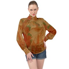 Mottle Color Movement Colorful High Neck Long Sleeve Chiffon Top