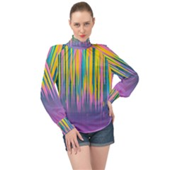 Background Colorful Texture Bright High Neck Long Sleeve Chiffon Top by Pakrebo