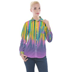 Background Colorful Texture Bright Women s Long Sleeve Pocket Shirt
