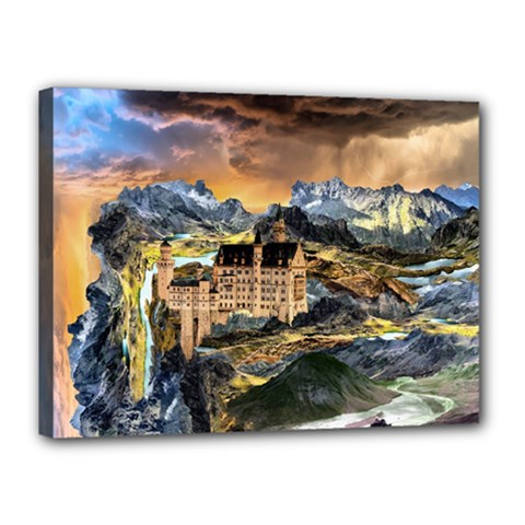 Castle Fantasy Landscape Stormy Canvas 16  X 12  (stretched)