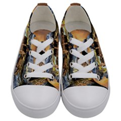 Castle Fantasy Landscape Stormy Kids  Low Top Canvas Sneakers