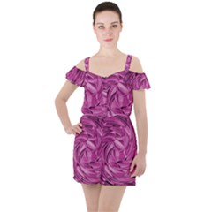 Strudel Magenta Pattern Art Spiral Ruffle Cut Out Chiffon Playsuit by Pakrebo