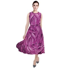 Strudel Magenta Pattern Art Spiral Round Neck Boho Dress