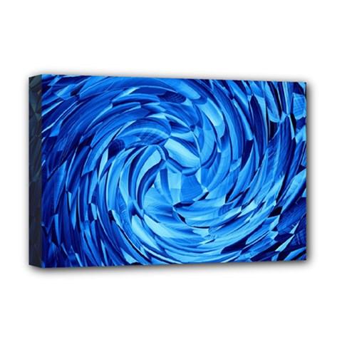 Strudel Blue White Light Blue Deluxe Canvas 18  X 12  (stretched) by Pakrebo
