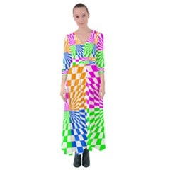 Checkerboard Again 8 Button Up Maxi Dress by impacteesstreetwearseven
