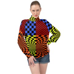 Checkerboard Again 7 High Neck Long Sleeve Chiffon Top by impacteesstreetwearseven