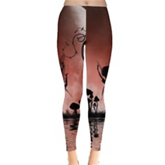 Little Fairy Dancing In The Night Leggings  by FantasyWorld7