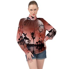 Little Fairy Dancing In The Night High Neck Long Sleeve Chiffon Top