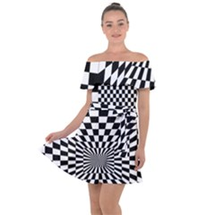 Checkerboard Again 6 Off Shoulder Velour Dress by impacteesstreetwearseven