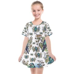 Blue Birds Of Happiness - White - By Larenard Studios Kids  Smock Dress