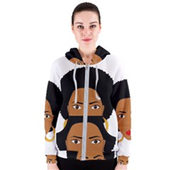 African American Woman With §?urly Hair Women s Zipper Hoodie by bumblebamboo