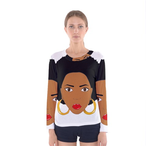African American Woman With ?urly Hair Women s Long Sleeve Tee by bumblebamboo