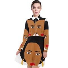 African American Woman With §?urly Hair Long Sleeve Chiffon Shirt Dress by bumblebamboo