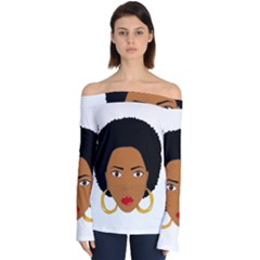 African American Woman With §?urly Hair Off Shoulder Long Sleeve Top by bumblebamboo