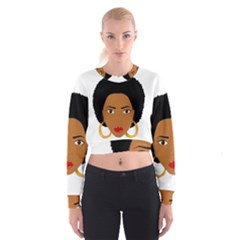 African American Woman With ?urly Hair Cropped Sweatshirt
