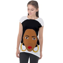 African American Woman With §?urly Hair Cap Sleeve High Low Top