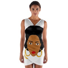 African American Woman With §?urly Hair Wrap Front Bodycon Dress by bumblebamboo