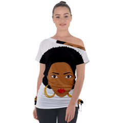 African American Woman With ?urly Hair Tie Up Tee by bumblebamboo