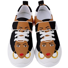 African American Woman With §?urly Hair Women s Velcro Strap Shoes by bumblebamboo