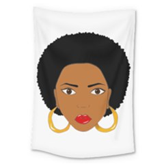 African American Woman With §?urly Hair Large Tapestry