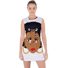 African American Woman With §?urly Hair Lace Up Front Bodycon Dress by bumblebamboo