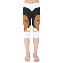 African American Woman With §?urly Hair Kids  Capri Leggings  by bumblebamboo