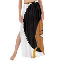 African American Woman With §?urly Hair Maxi Chiffon Tie Up Sarong by bumblebamboo