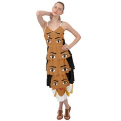 African American Woman With §?urly Hair Layered Bottom Dress by bumblebamboo