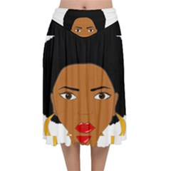 African American Woman With §?urly Hair Velvet Flared Midi Skirt by bumblebamboo