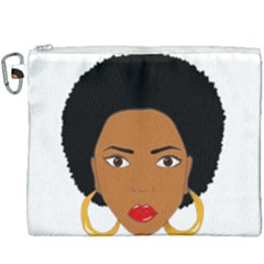 African American Woman With ?urly Hair Canvas Cosmetic Bag (xxxl)