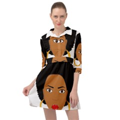 African American Woman With ?urly Hair Mini Skater Shirt Dress