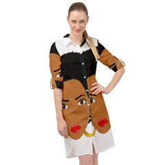 African American Woman With §?urly Hair Long Sleeve Mini Shirt Dress by bumblebamboo