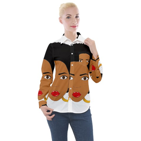 African American Woman With ?urly Hair Women s Long Sleeve Pocket Shirt by bumblebamboo