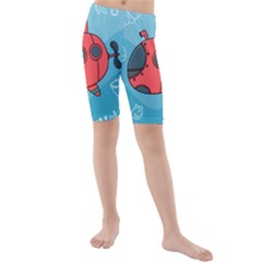 Dive Scuba Ocean Sea Water Fish Kids  Mid Length Swim Shorts