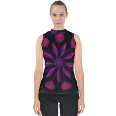 Background Purple Black Red Mock Neck Shell Top