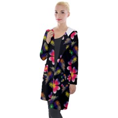 Pattern Flowers Wallpaper Hooded Pocket Cardigan