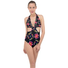Pattern Flowers Wallpaper Halter Front Plunge Swimsuit