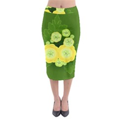 Buttercup Ranunculus Globe Flower Midi Pencil Skirt by Pakrebo