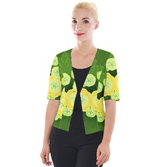 Buttercup Ranunculus Globe Flower Cropped Button Cardigan by Pakrebo